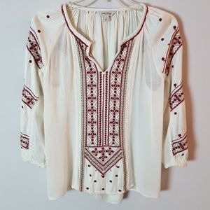 Lucky Brand Embroidered Sheer Boho Peasant Blouse